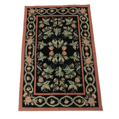 3'11 x 5'11 Hand-Knotted Sino-French Style Needle Point Rug, circa 1990s