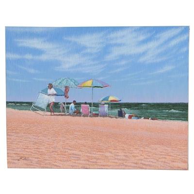 "J.C. Hall Lineallist Acrylic Painting ""Duck Island"""