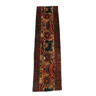 1'9 x 6'6 Hand-Knotted Persian Khorasan Fragment Carpet Runner, circa 1880s