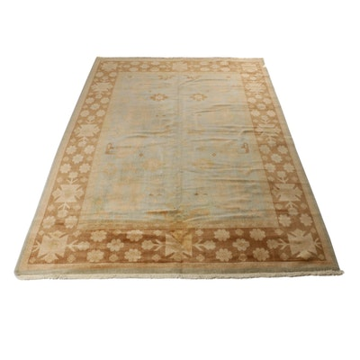 9'0 x 12'7 Hand-Knotted Indo Turkish Oushak Rug, 2000s
