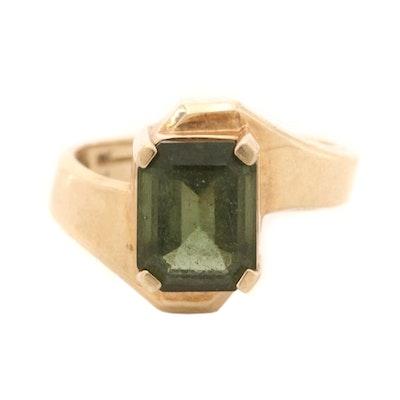 10K Yellow Gold Moldavite Ring