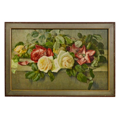 Color Lithograph After Giovacchino Galbusera Floral Still Life