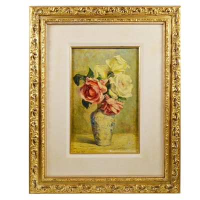 Charlotte Therese Darche Floral Still Life Oil Painting