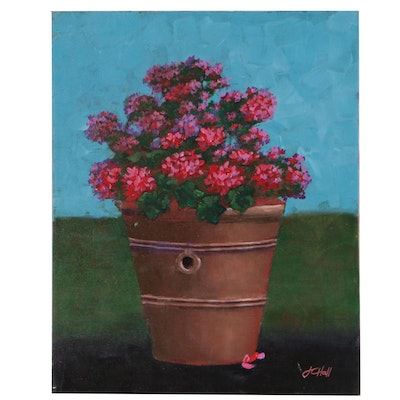 "J.C. Hall Acrylic Still Life Painting ""Pot of Red"""