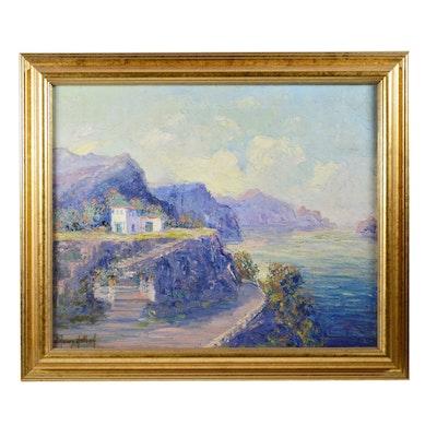 J. Henry Hallberg Coastal Scene Oil Painting