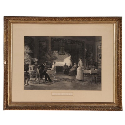 """H. Eichens Engraving after Louis Auguste Loustaunau """"Les Fiancés"""", 1885"""