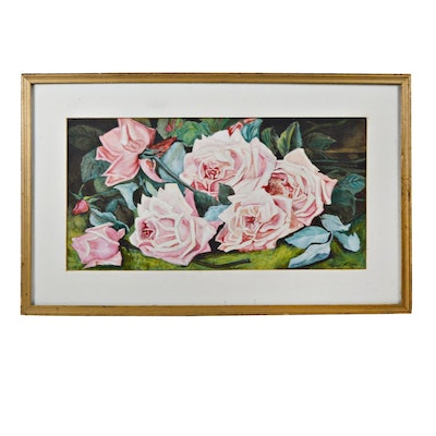 Florence Kidder Watercolor of Roses