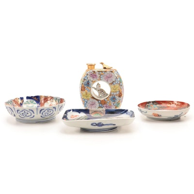 Japanese Porcelain Whistling Sake Decanter with other East Asian Imari Bowls