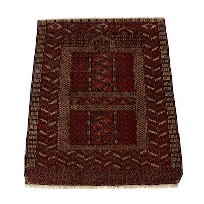 3'10 x 4'8 Hand-Knotted Turkistan Turkoman Rug, circa 1890