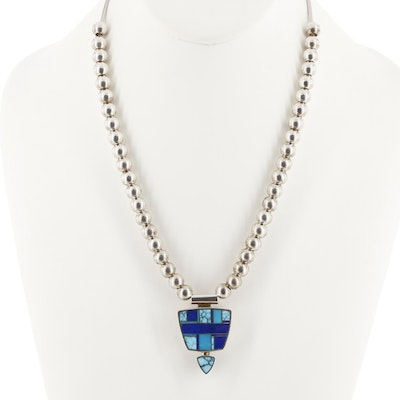 Ray Tracey Navajo Diné Sterling Turquoise and Lapis Lazuli with 14K Gold Accents
