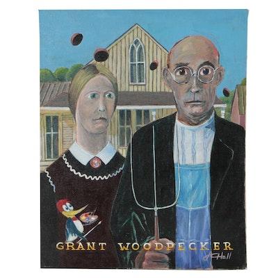 "J.C. Hall Acrylic Painting ""Grant Woodpecker"""