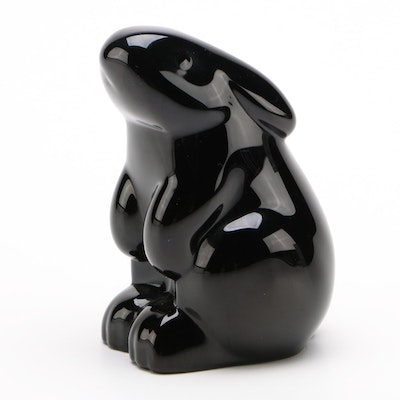 "Baccarat Black ""Sitting Rabbit"" Crystal Figurine"