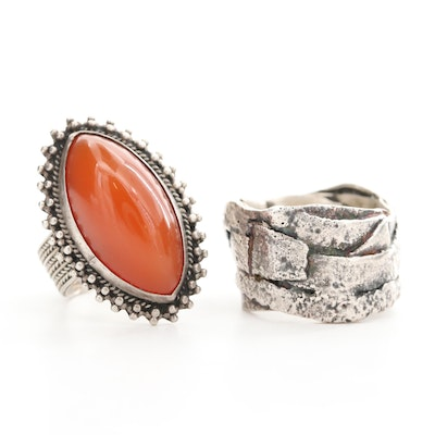 850 Carnelian Ring with Sterling Silver Band