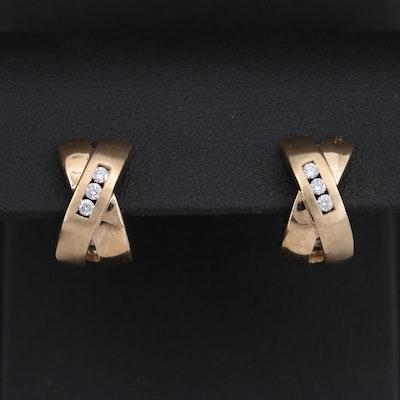 "14K Yellow Gold Diamond ""Kiss"" Huggie Earrings"