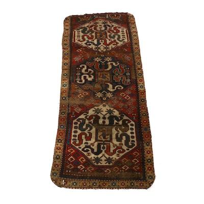 3'7 x 8'7 Hand-Knotted Caucasian Kazak Carpet Runner, circa 1890