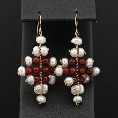 14K Yellow Gold Cultured Pearl and Carnelian Dangle Earrings