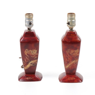 Pair of Maruni Etched Japanese Red Lacquerware Lamps