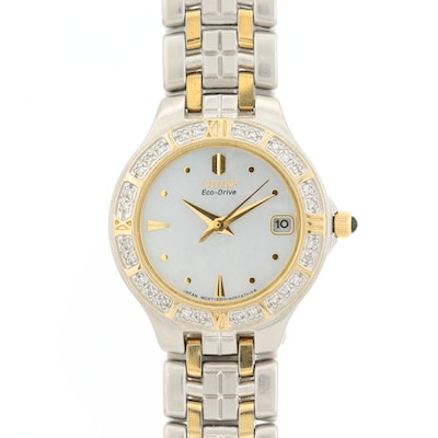 Citizen Eco-Drive Two Tone Watch With Diamond Bezel and Mother of Pearl Dial