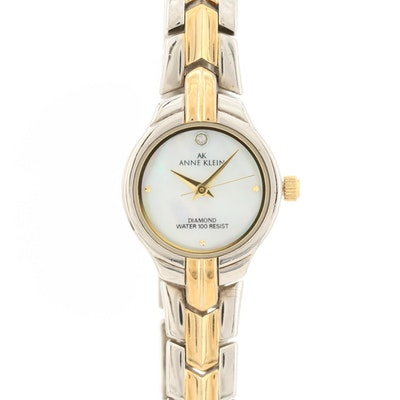 Anne Klein Two Tone Quartz Wristwatch With Diamond and Mother of Pearl Dial