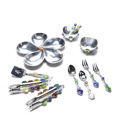 Oneida, Dansk and Other Embellished Serving Utensils, Bowls and Platter