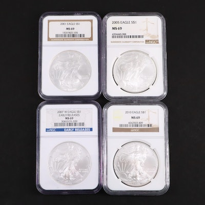 Four NGC Graded MS69 American Silver Eagle $1 Coins