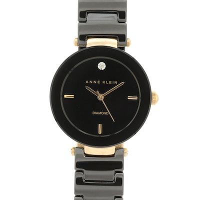 Anne Klein Black Ceramic and Gold Tone Quartz Wristwatch With Diamond