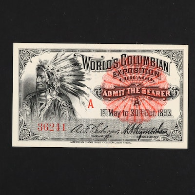 1893 World's Columbian Exposition Admission Ticket
