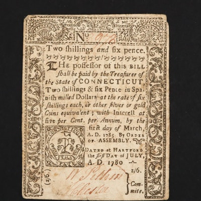 1780 Colonial Two Shillings and Six Pence Note from Connecticut