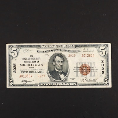 Series of 1929 U.S. $5 National Currency Note