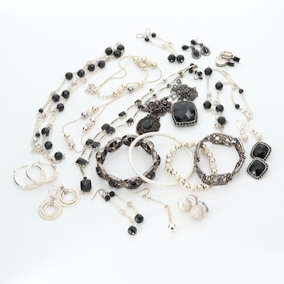 Bracelets, Necklaces and Earrings Featuring Black Onyx, Marcasite and Glass