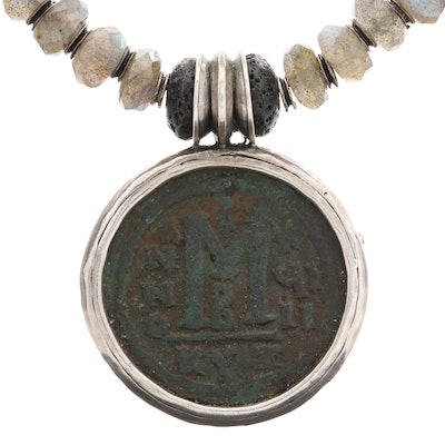 Sterling Silver Lava and Labradorite Necklace Featuring Ancient Byzantine Coin