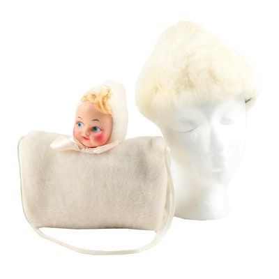 Child's Rabbit Fur Hat and Faux Fur Muff with Doll Head, Mid-20th Century