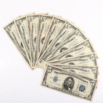Eleven U.S. $5 Silver Certificates