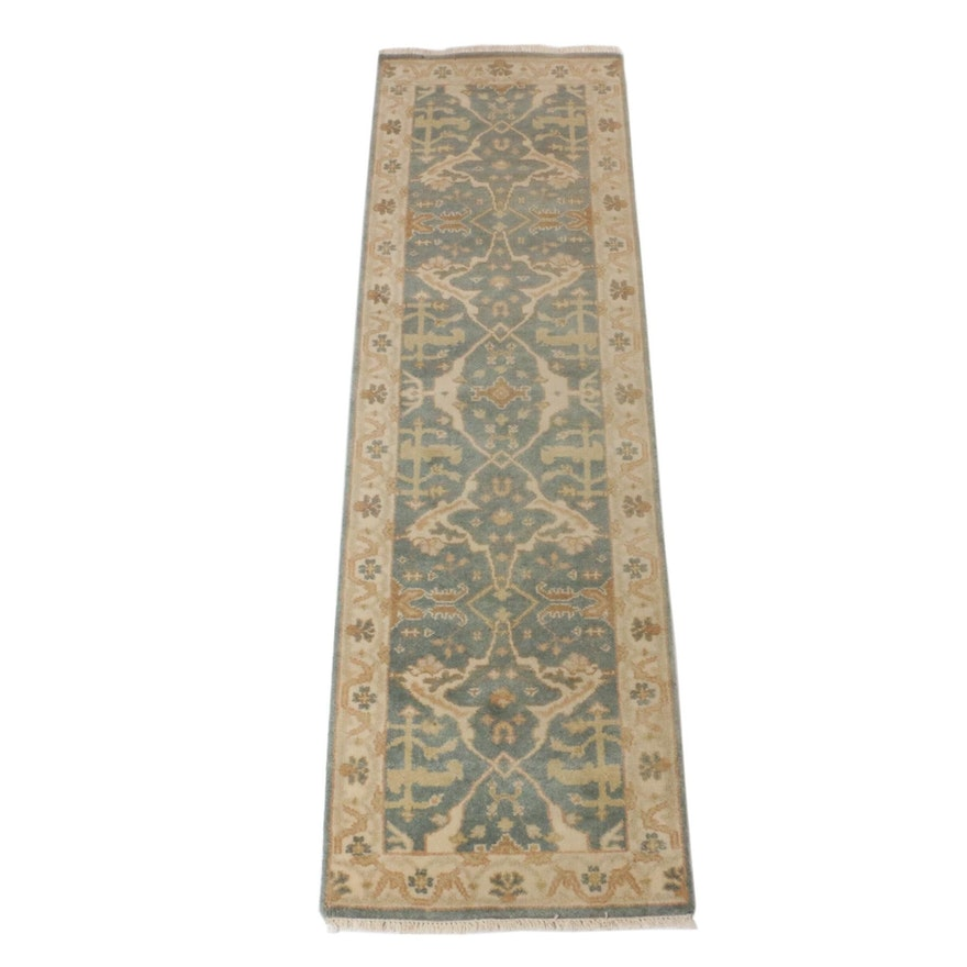 2'5 x 8'4 Hand-Knotted Indo-Turkish Oushak Runner