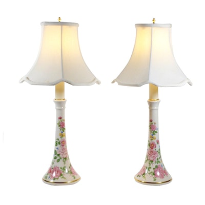 Floral Painted Ceramic Candlestick Table Lamps, Vintage