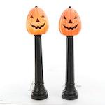 Molded Plastic Lamp Post Pumpkin Outdoor Décor for Halloween