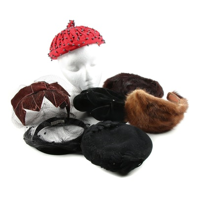 Calot and Casque Hats Including Mink and Rabbit Fur with Hat Box, 1950s Vintage