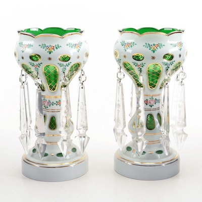 Pair of Bohemian Green and White Cased Glass Mantle Lusters, 19th Century