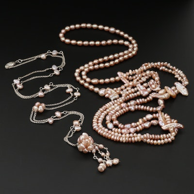 Sterling Silver and Endless Cultured Pearl Necklaces