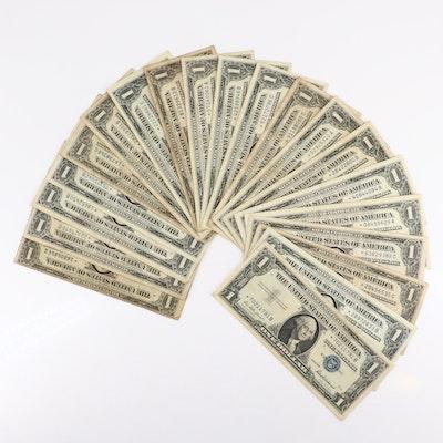 Twenty U.S. $1 Star Note Silver Certificates