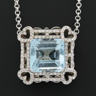 14K White Gold 11.33 CT Aquamarine and Diamond Pendant Necklace