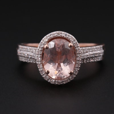 10K Rose Gold Morganite and Diamond Ring with Halo