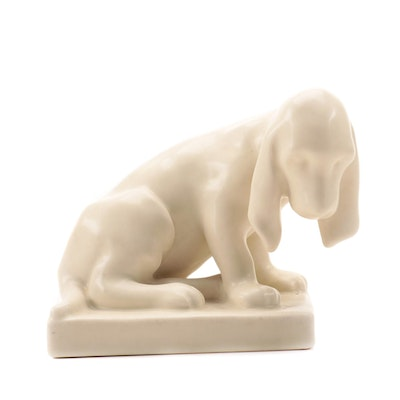 Rookwood Pottery Hound Dog Bookend Designed by Louise Abel, 1934