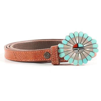 Janta Lonjose Zuni Sterling and Gemstone Buckle with Barry Kieselstein-Cord Belt