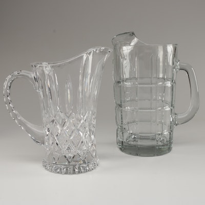 """Anchor """"Tartan"""" Glass Pitcher with Cut Crystal Pitcher"""