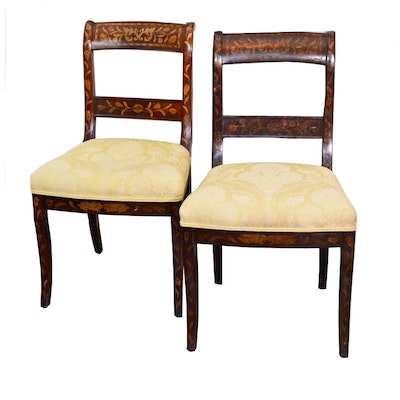 Pair of Dutch Marquetry Side Chairs, Early 20th Century