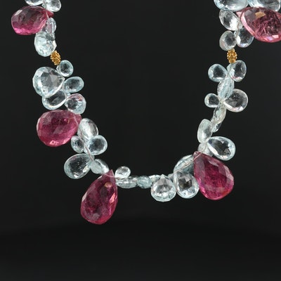 18K Yellow Gold, Pink Tourmaline and Aquamarine Necklace