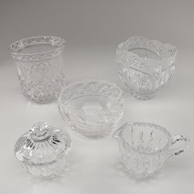 "Tiffany & Co. ""Dolphin"" Crystal Bowl with Crystal Vase and Table Accessories"