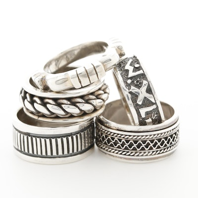 Sterling Silver Textured Bands with Spinner Ring