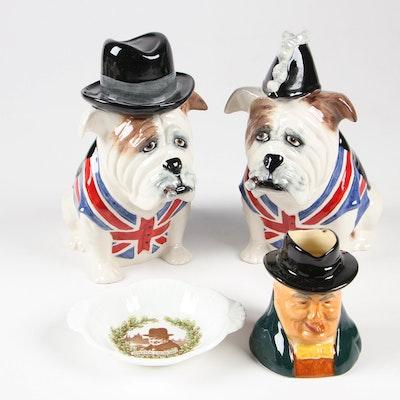Staffordshire Ceramic Bulldog Figurines, Character Mug, and Royal Doulton Dish